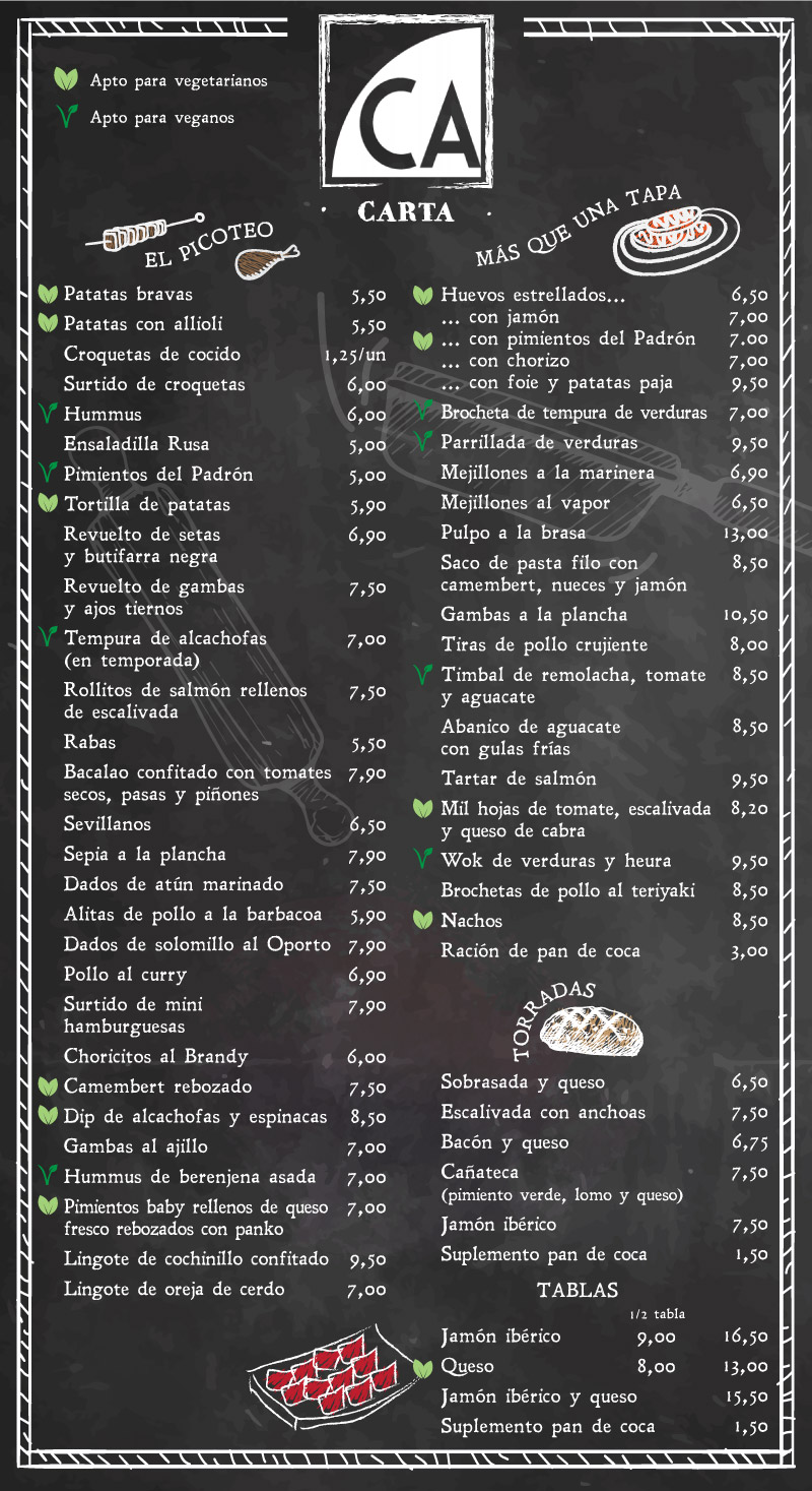 Carta Restaurante Cañateca Sitges 2